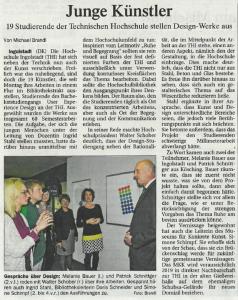 """Artikel """"Junge Künstler"""" erschienen im Donaukurier am 20.04.16"""